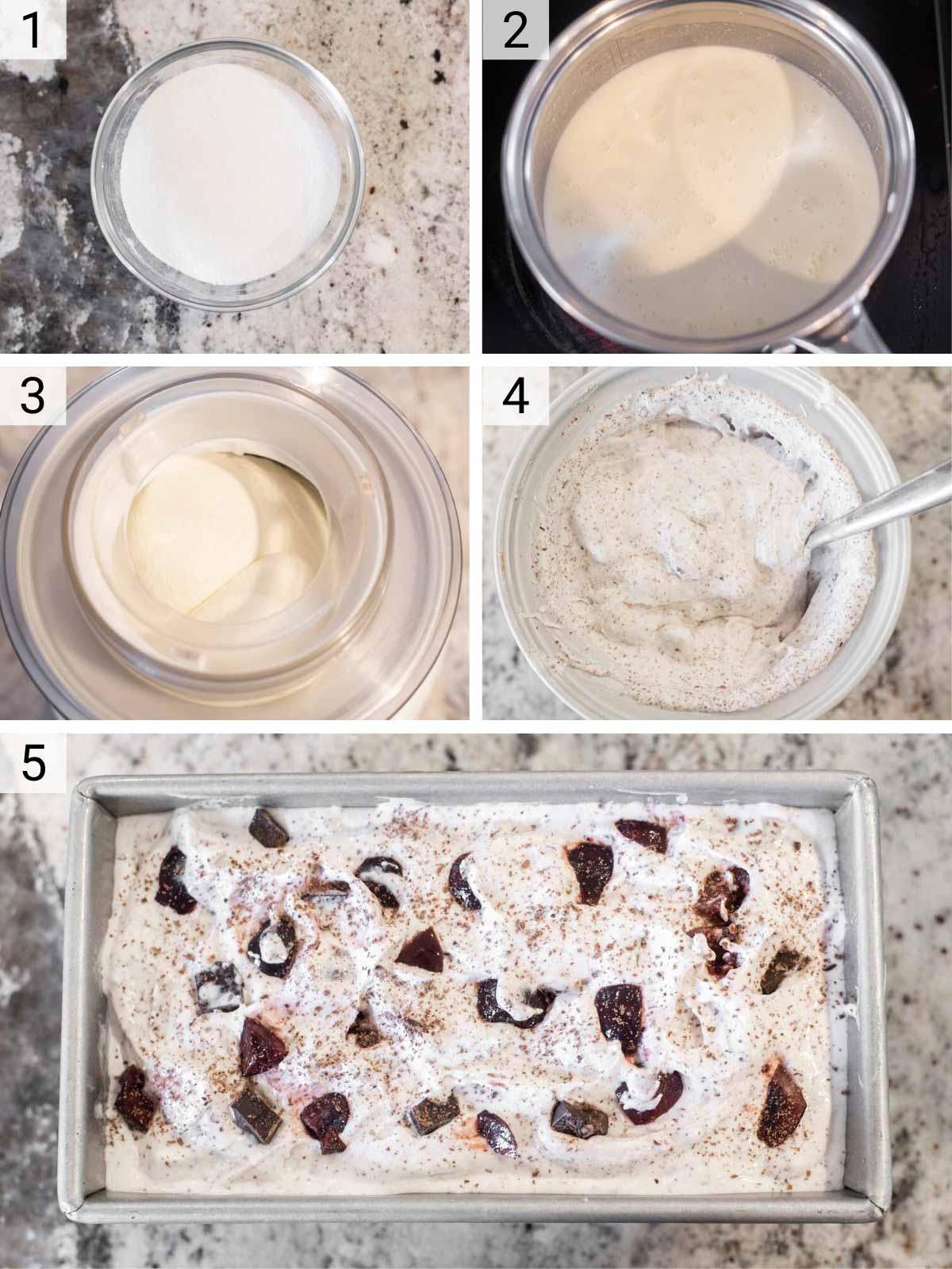process shots of how to make cherry chocolate chunk ice cream