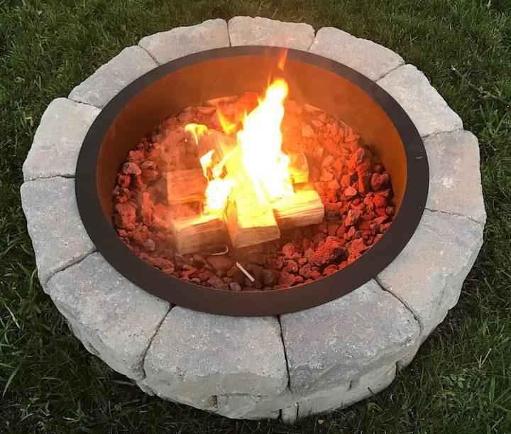 fire in DIY fire pit