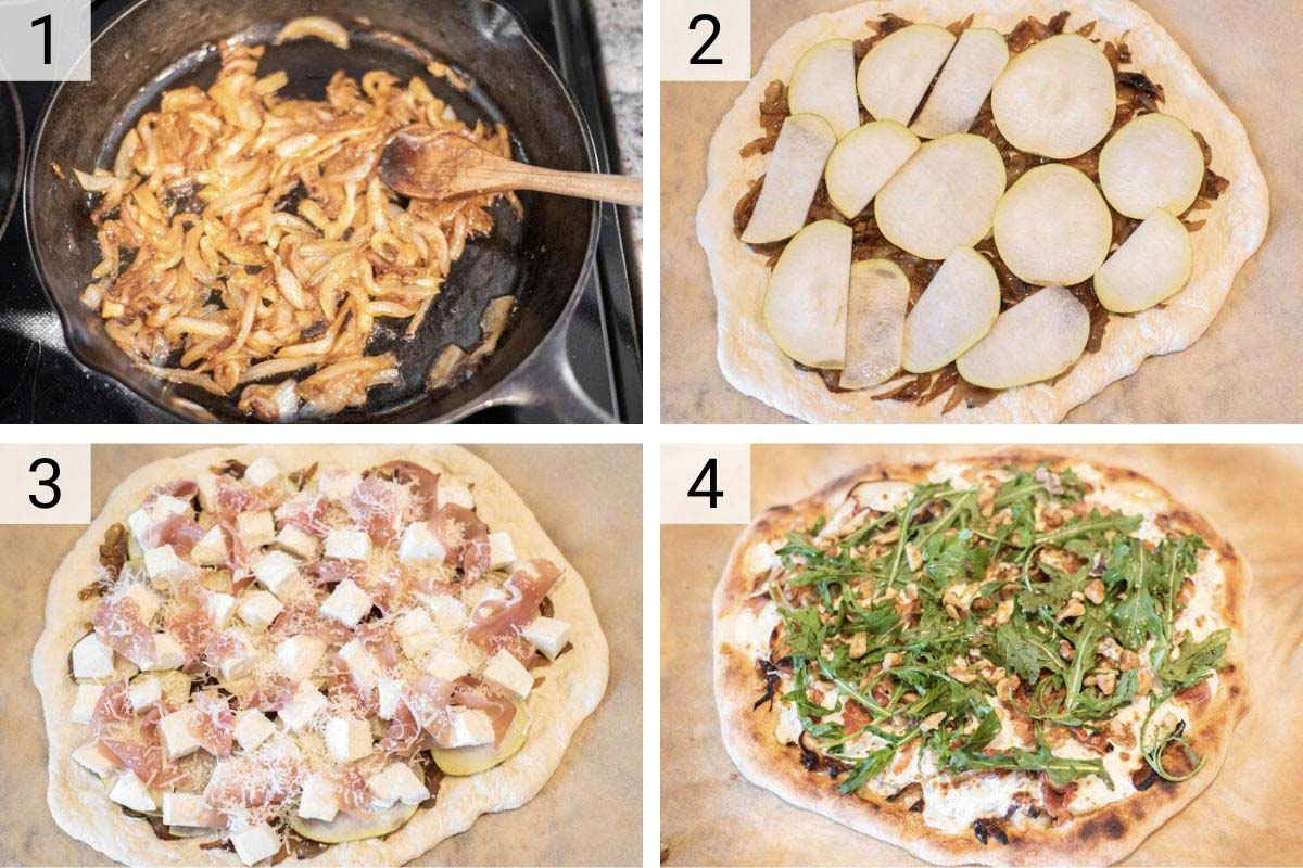 process shots of pear pizza being made