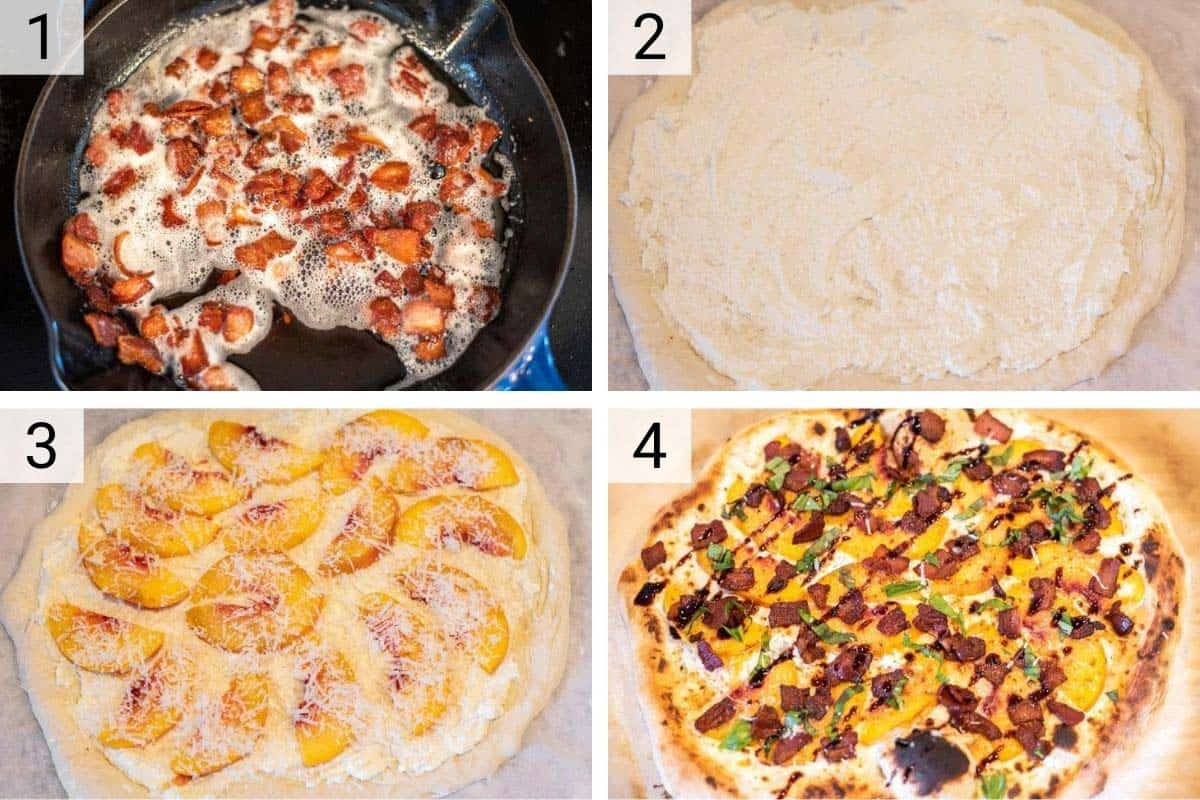 process shots of how to make peach ricotta pizza