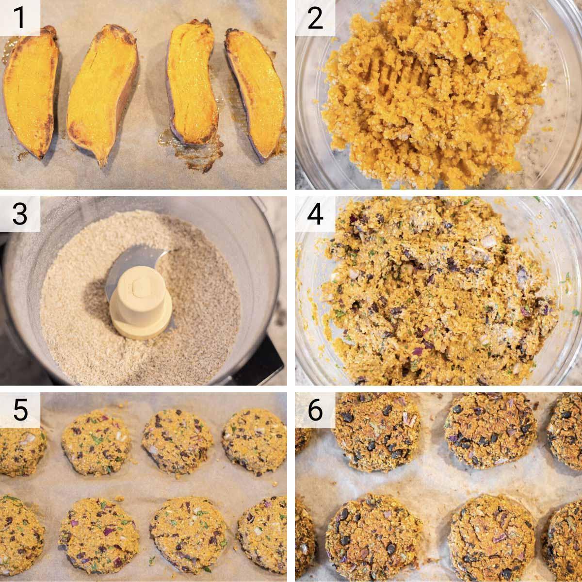 process shots of how to make sweet potato black bean burgers