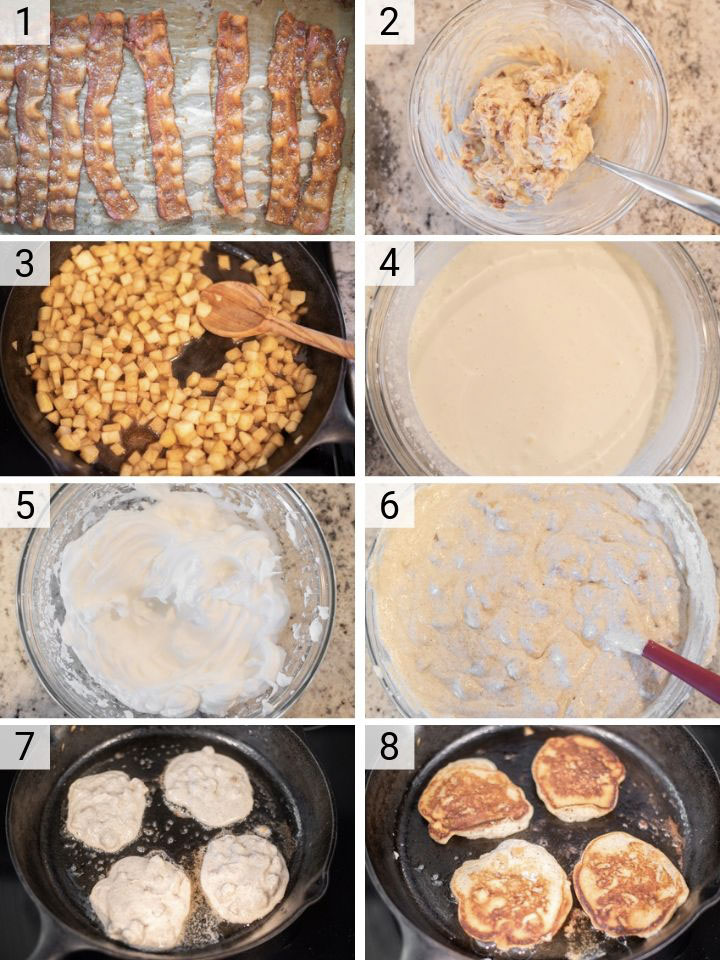 process shots of how to make apple ricotta pancakes