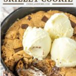 spoon dipped in chocolate chip peanut butter skillet cookie with ice cream