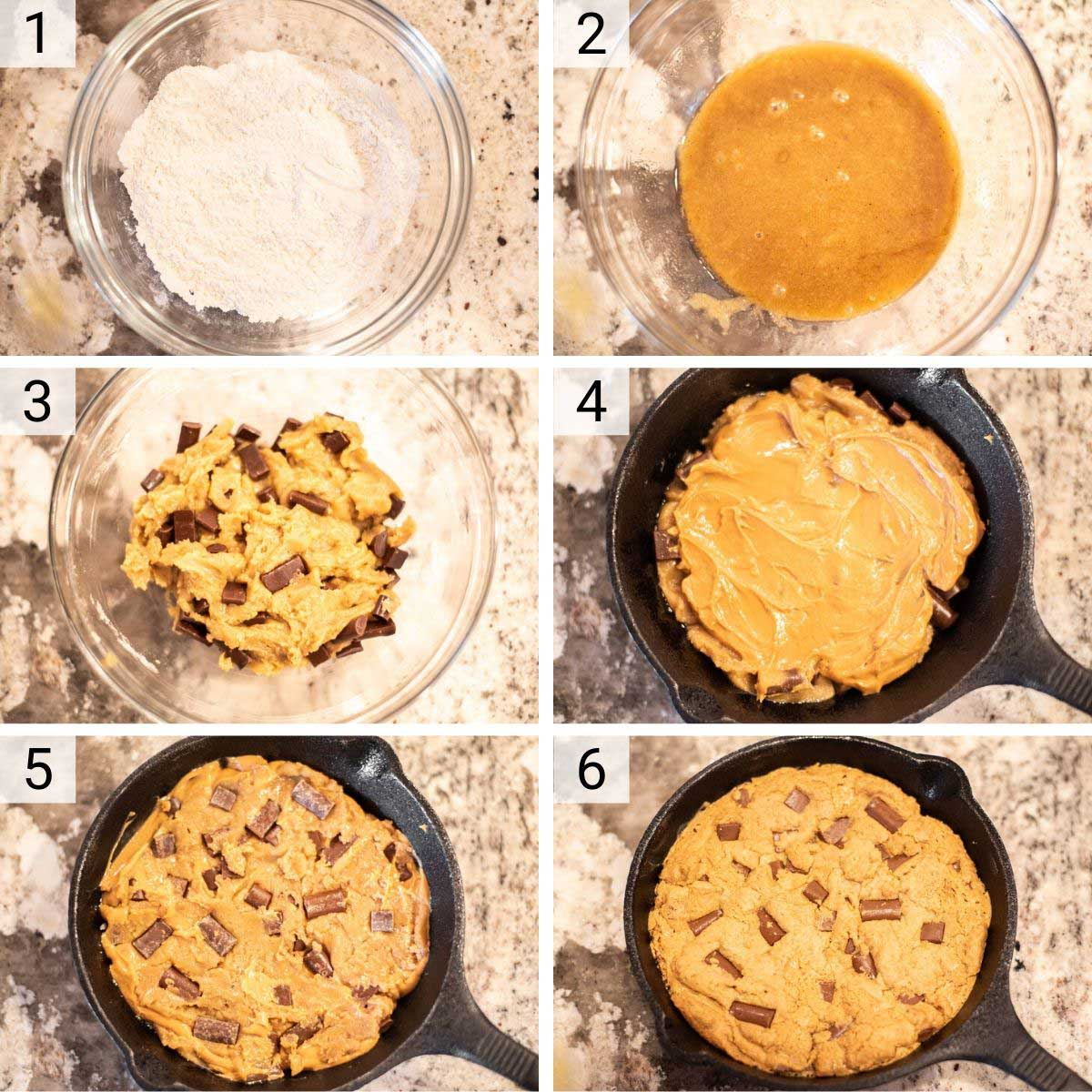 process shots of how to make pizookie