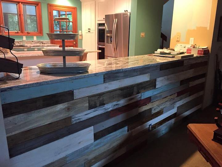 mom's kitchen renovated with wood planks