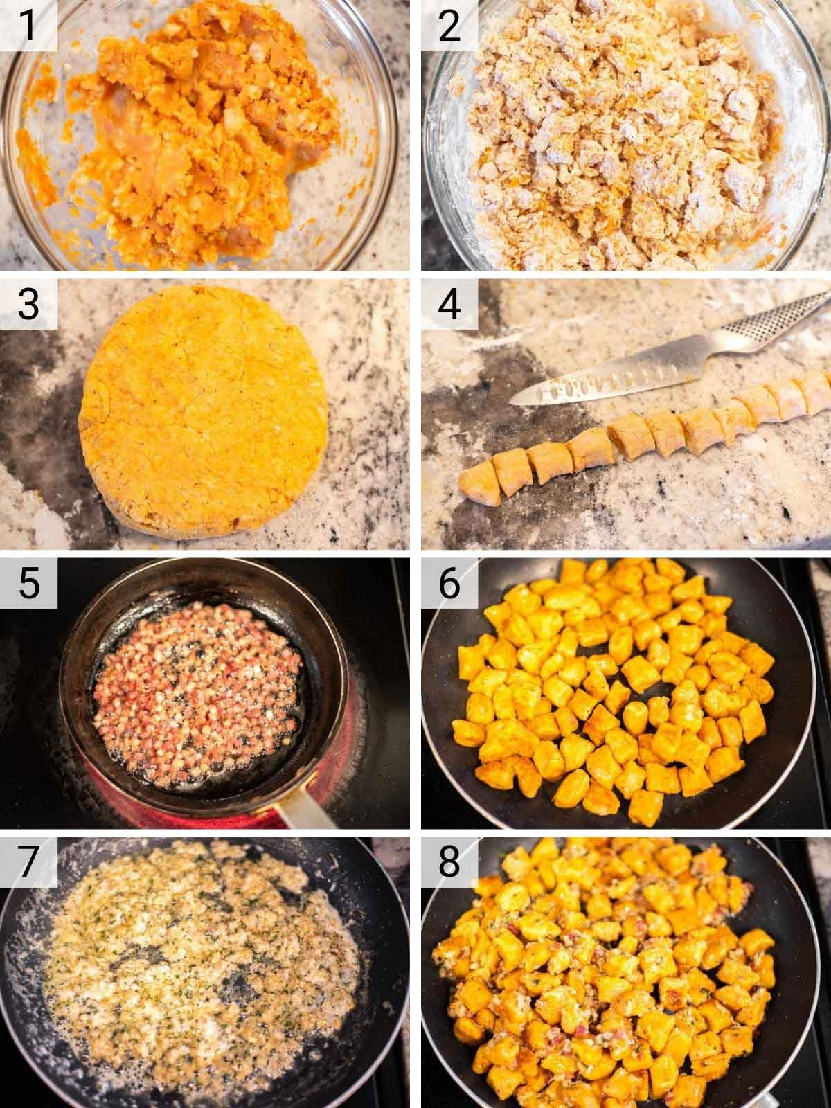 process shots of how to make gnocchi with pumpkin