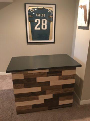 refurbished bar in basement