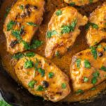 Thai chicken satay in skillet
