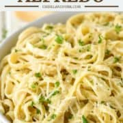 fettuccine alfredo in grey bowl
