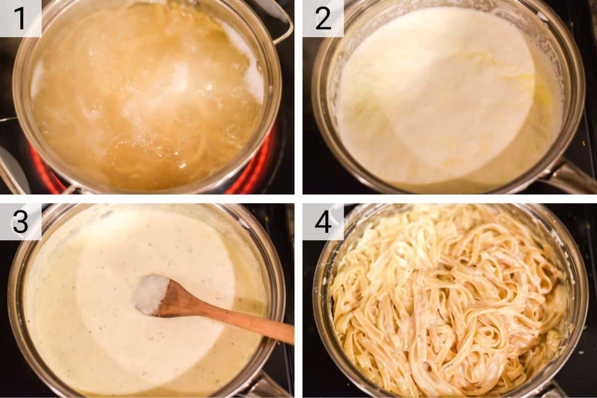 process shots of how to make fettuccine alfredo