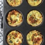 overhead shot of mini ham and cheese quiche in pan