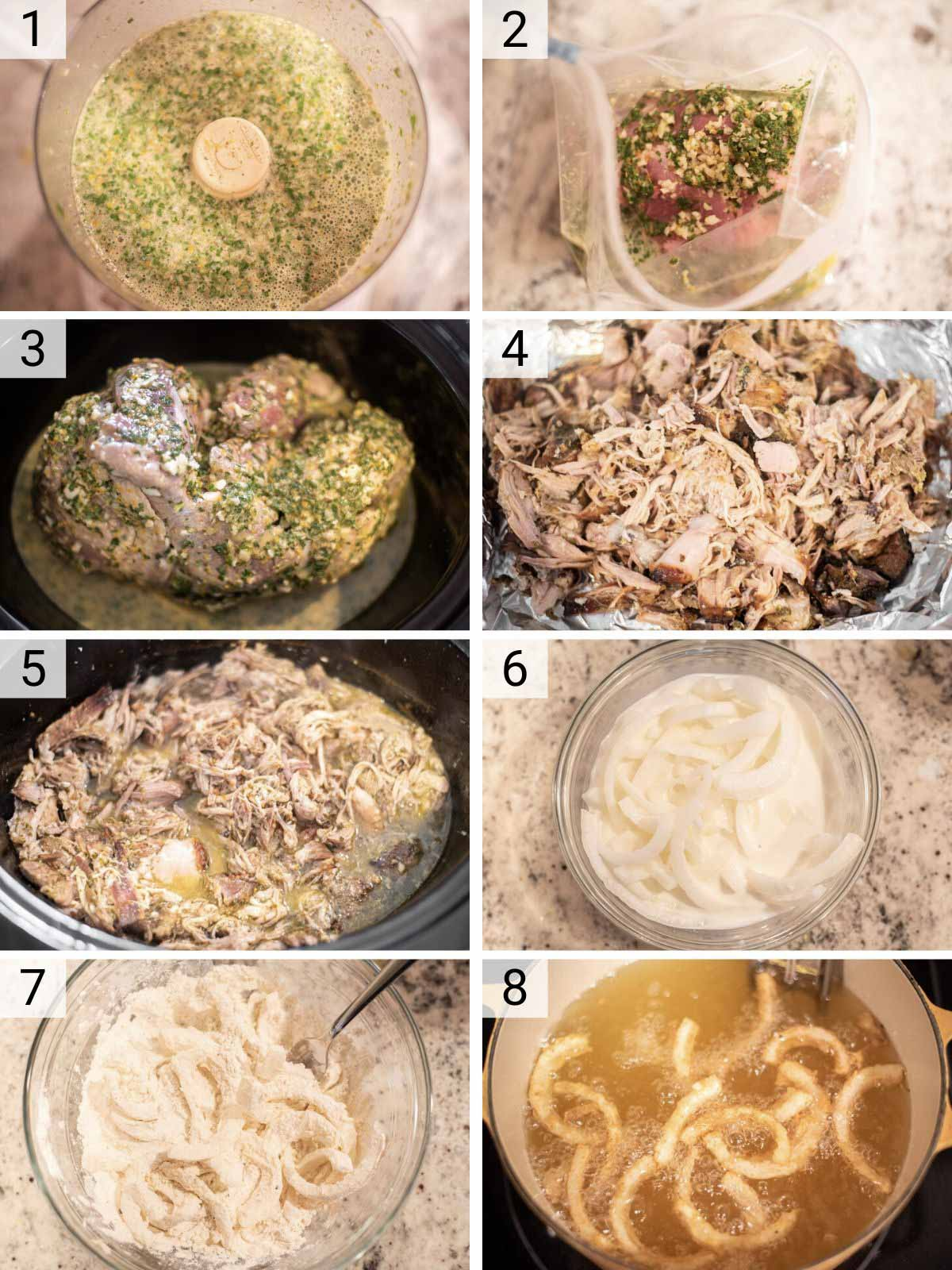 process shots of how to make mojo pork tacos