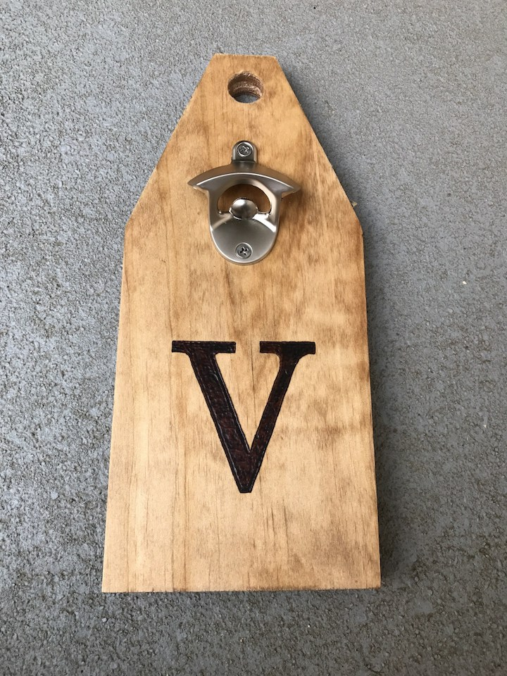 staining and adding beer bottle opener to beer caddy
