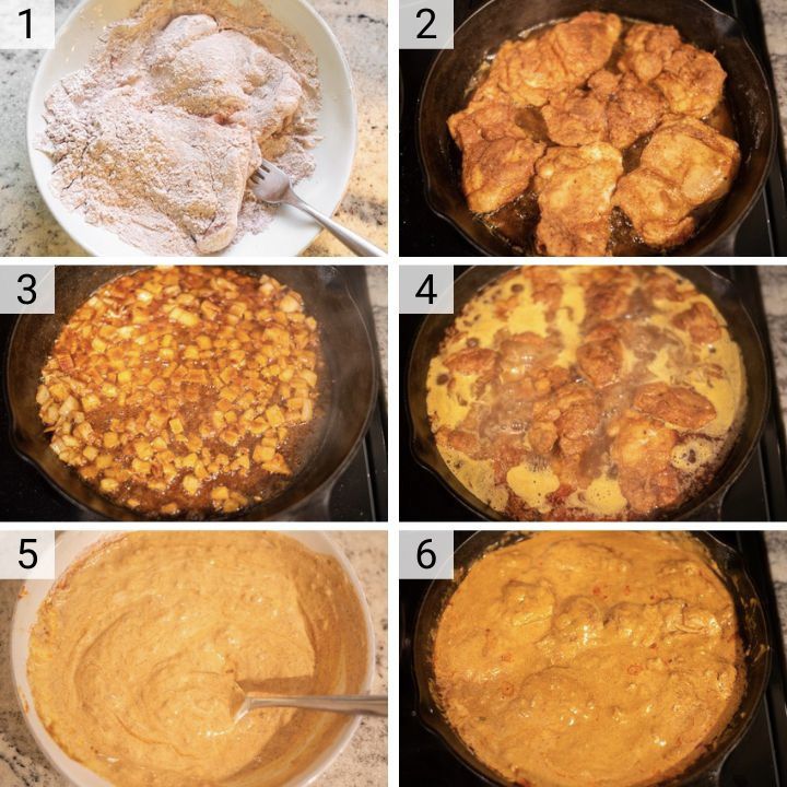 process shots of how to make chicken paprikash