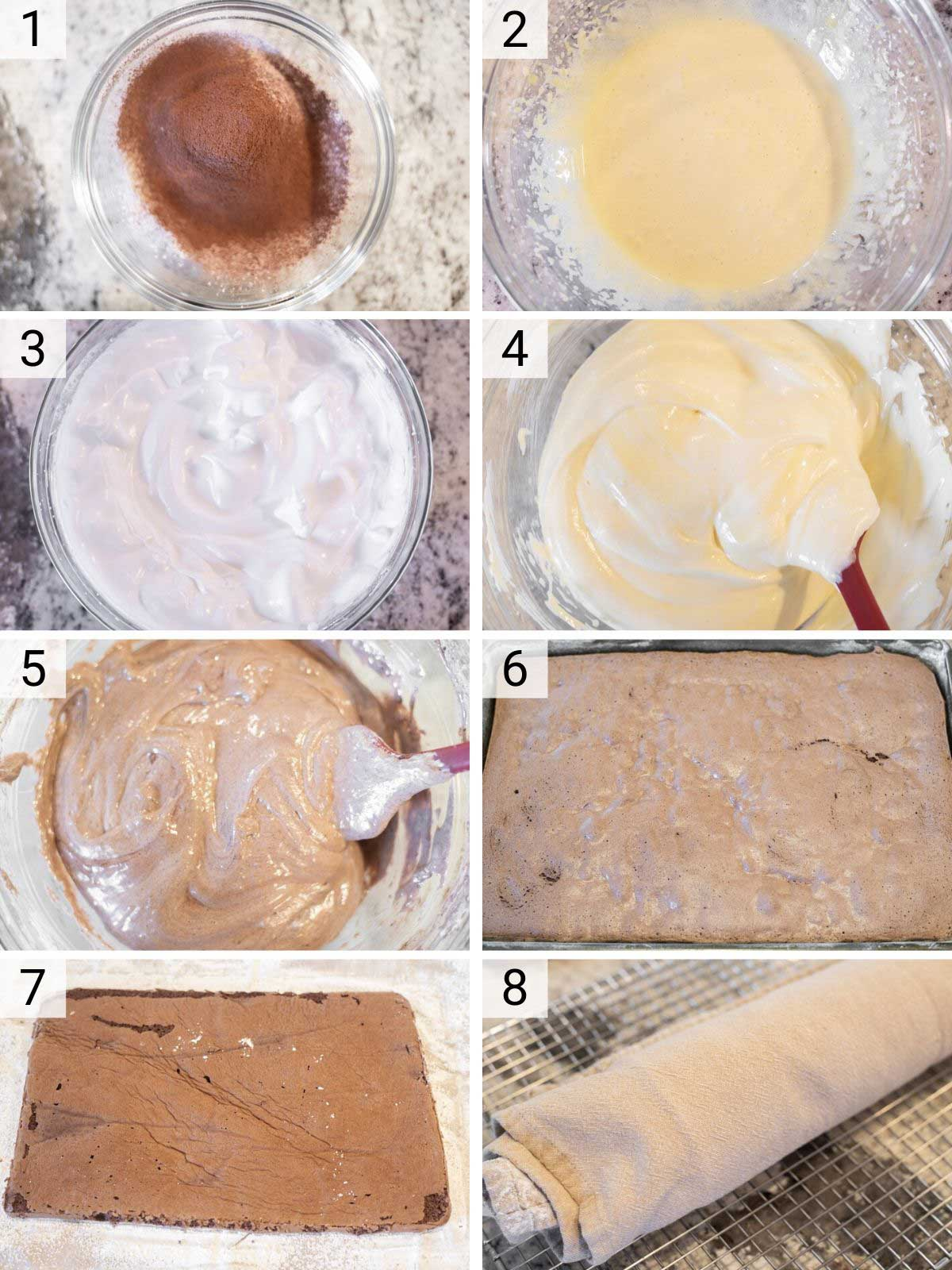 process shots of how to make peppermint yule log
