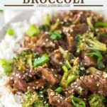 beef and broccoli made in slow cooker on plate with chopsticks