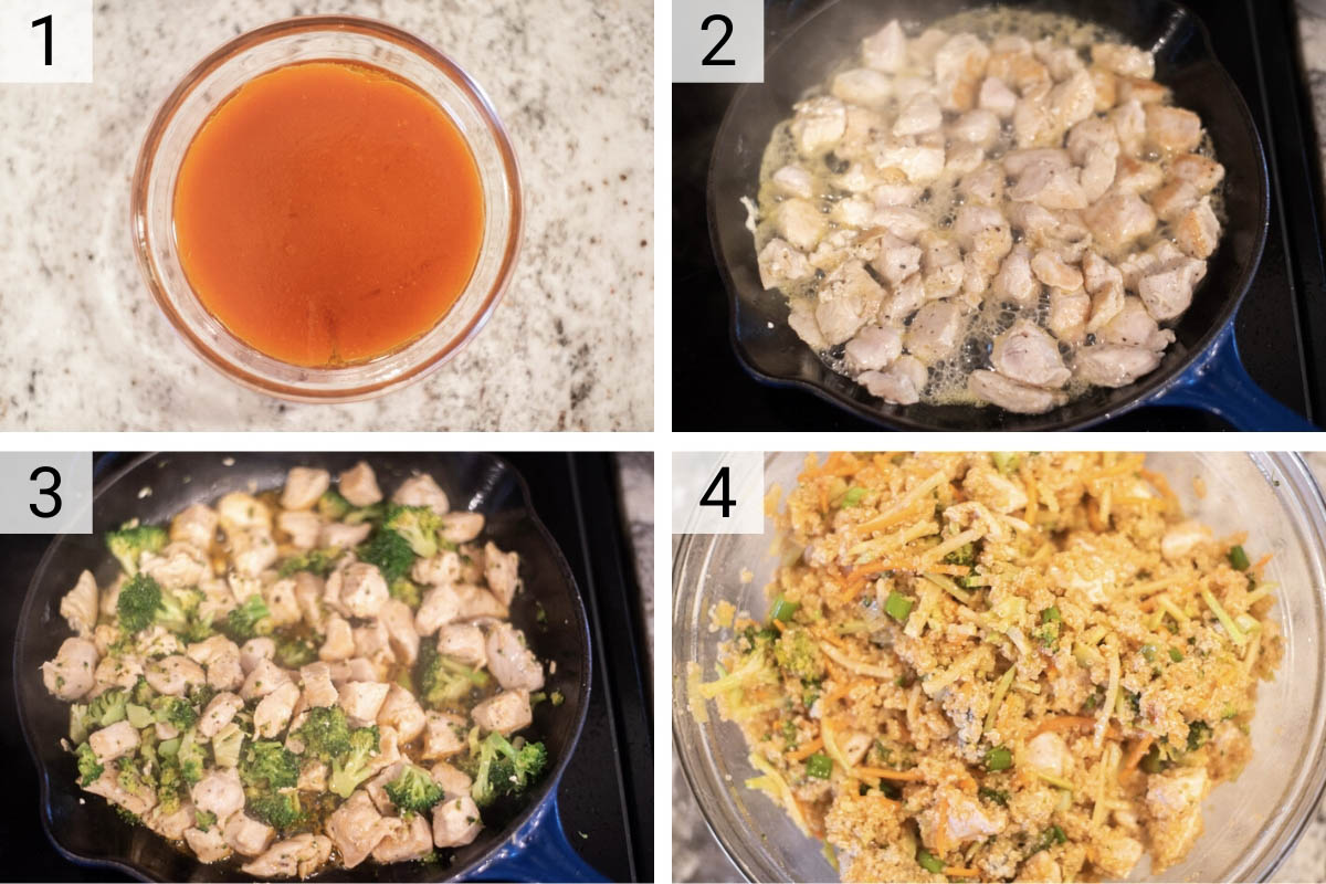 process shots of how to make buffalo chicken salad