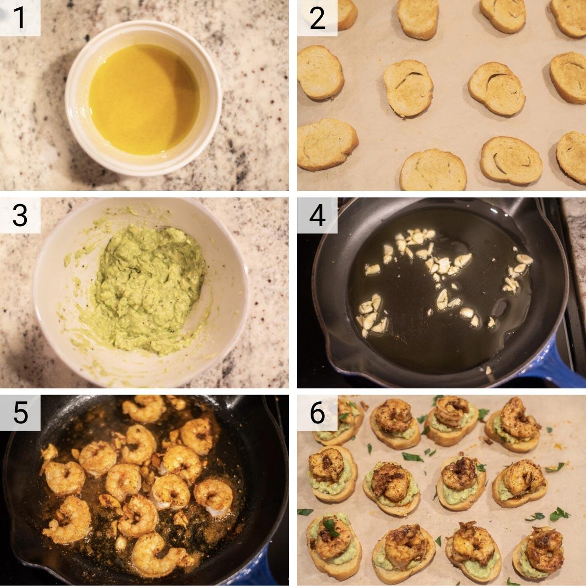 process shots of how to make shrimp crostini