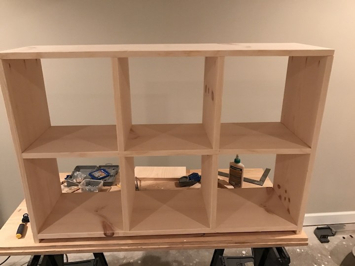 attached top of bookshelf