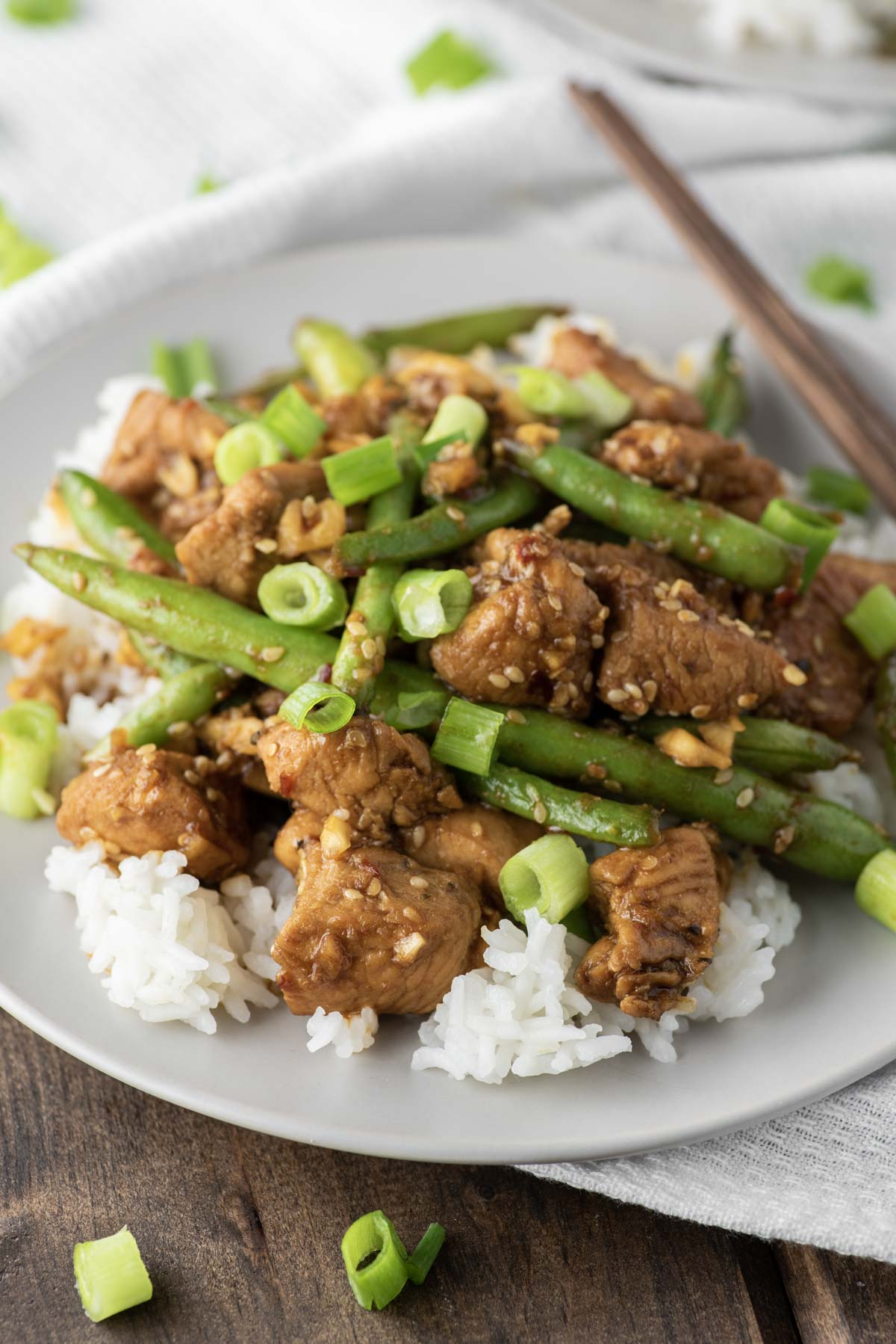 chicken and green bean stir fry on plate