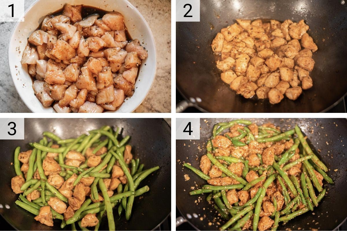 process shots of how to make chicken and green bean stir fry