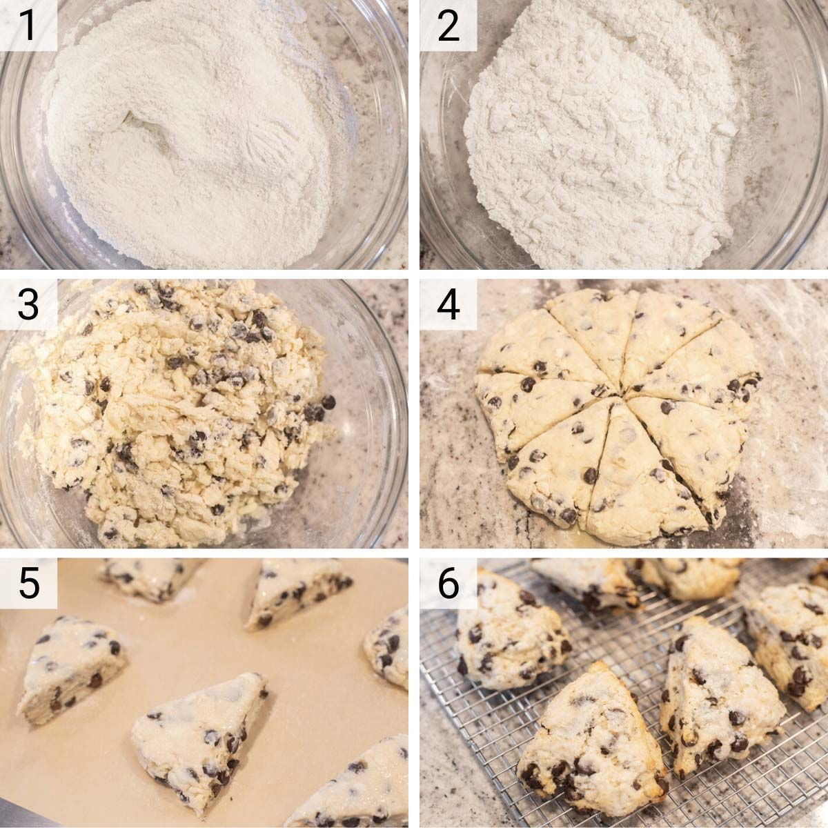 process shots of how to make chocolate chip scones