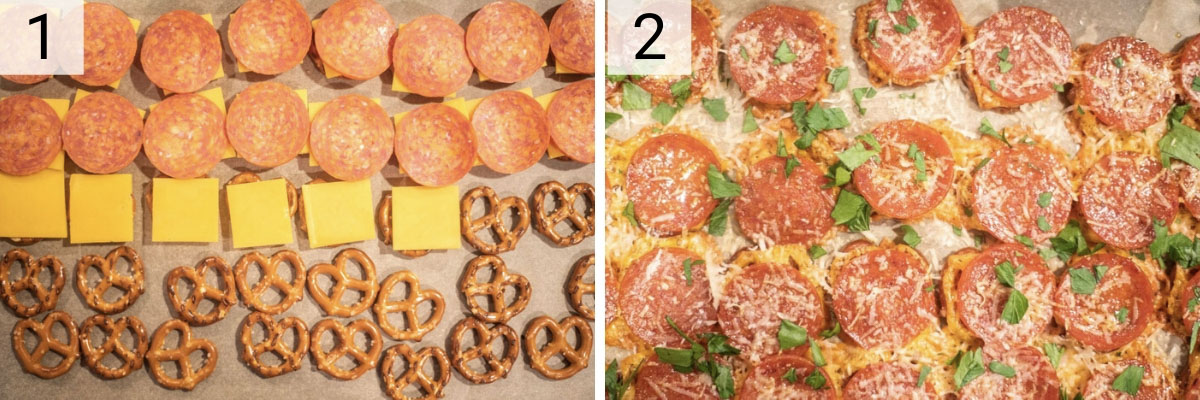 process shots of how to make pizza pretzels