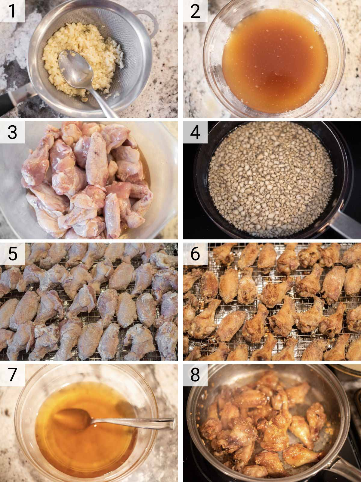 process shots of how to make Vietnamese chicken wings