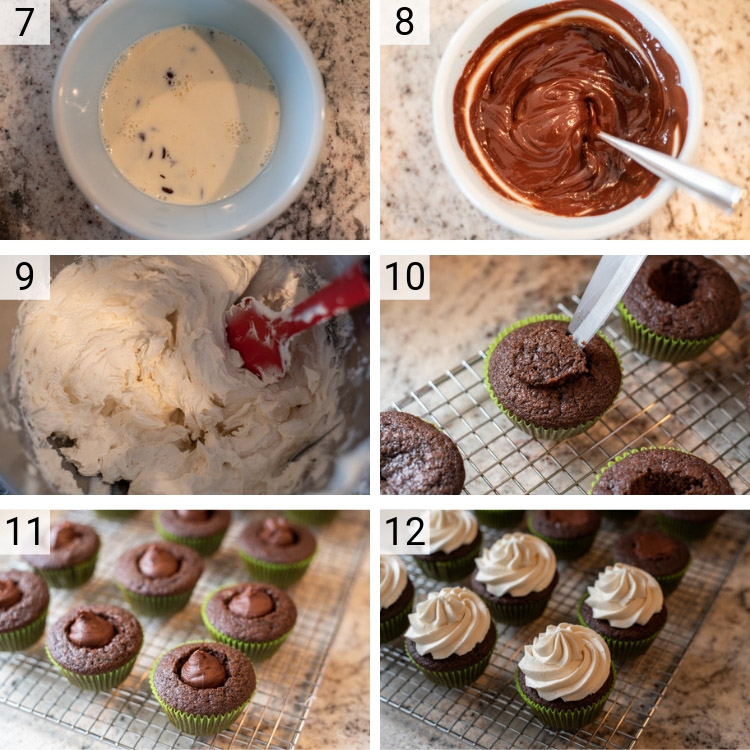 process shots of Irish Car Bomb Cupcakes being made