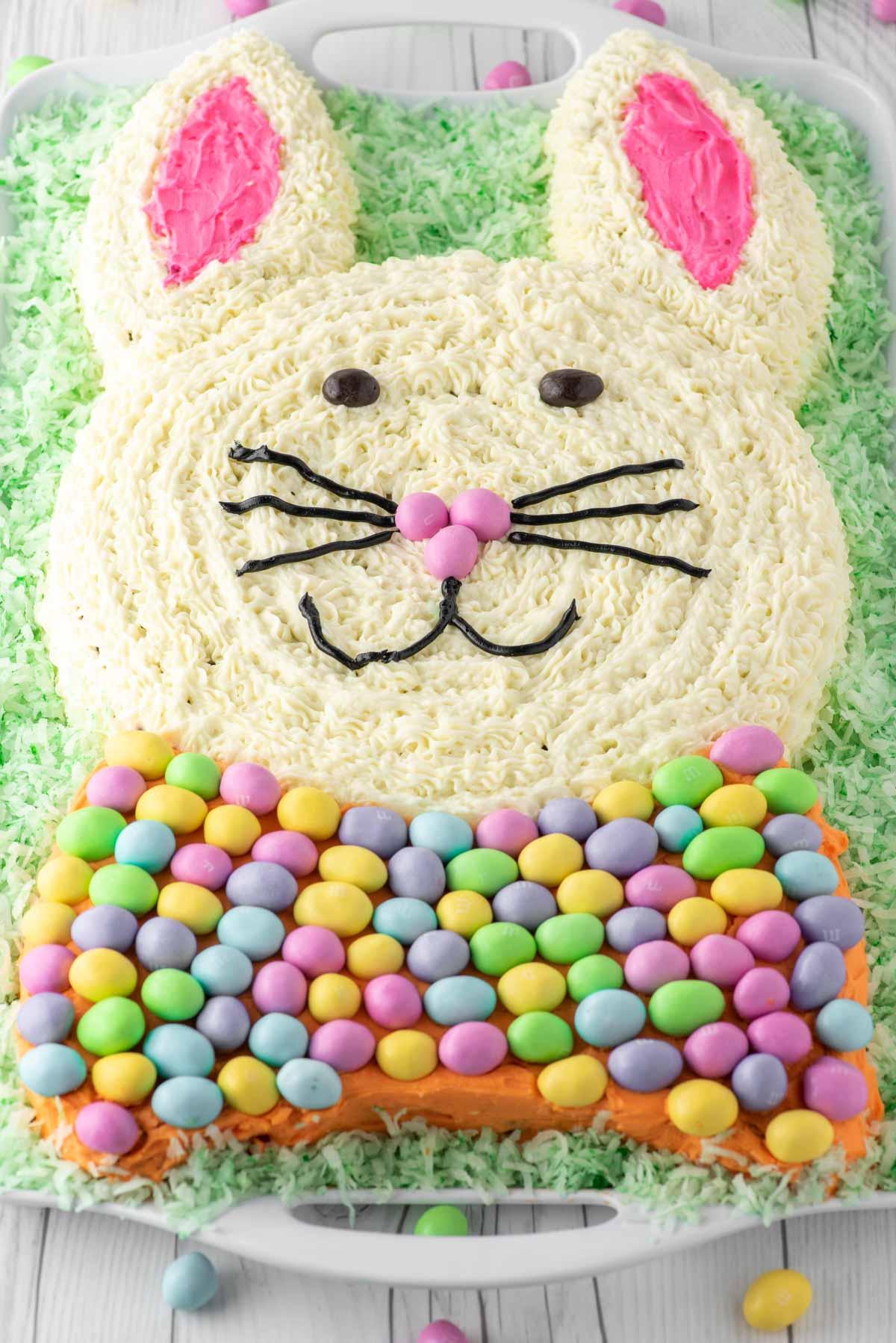Easter bunny carrot cake on platter