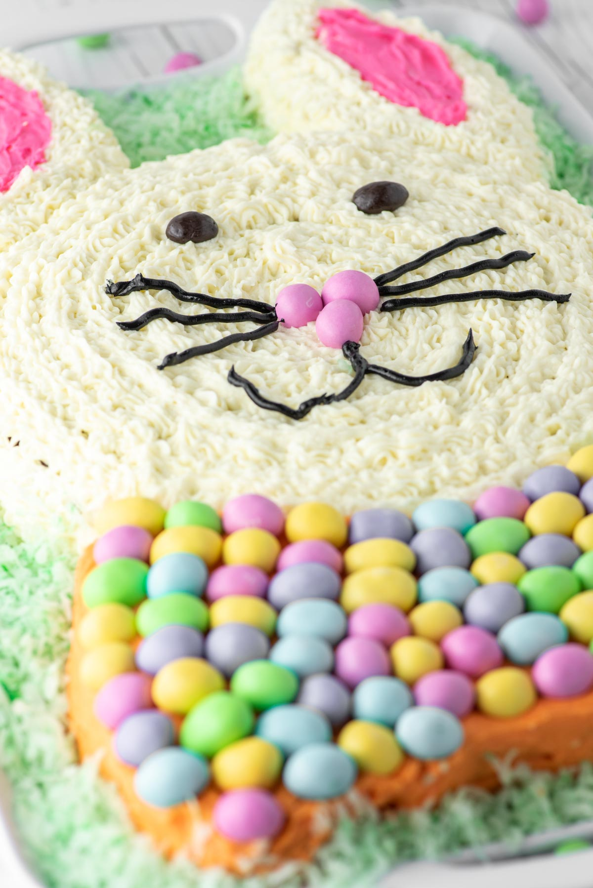 close-up of Easter bunny cake