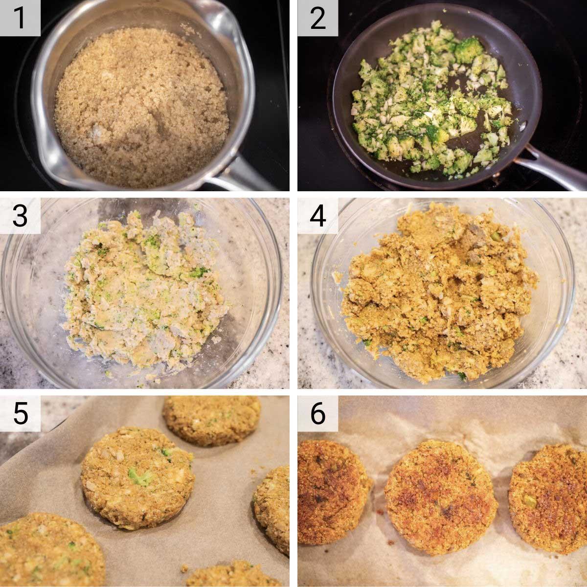 process shots of how to make quinoa burgers