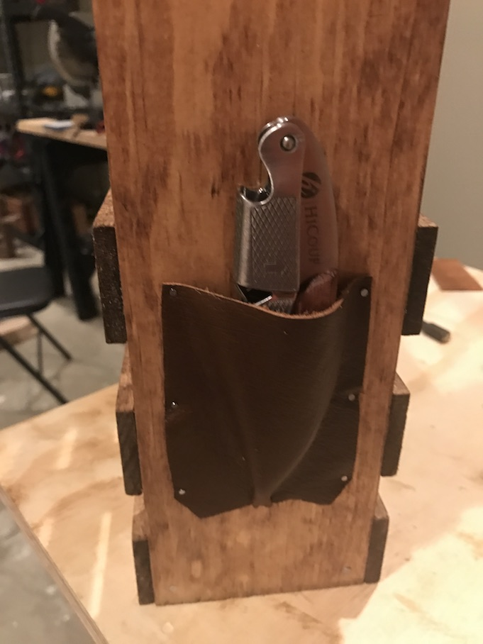 nail leather for wine caddy opener