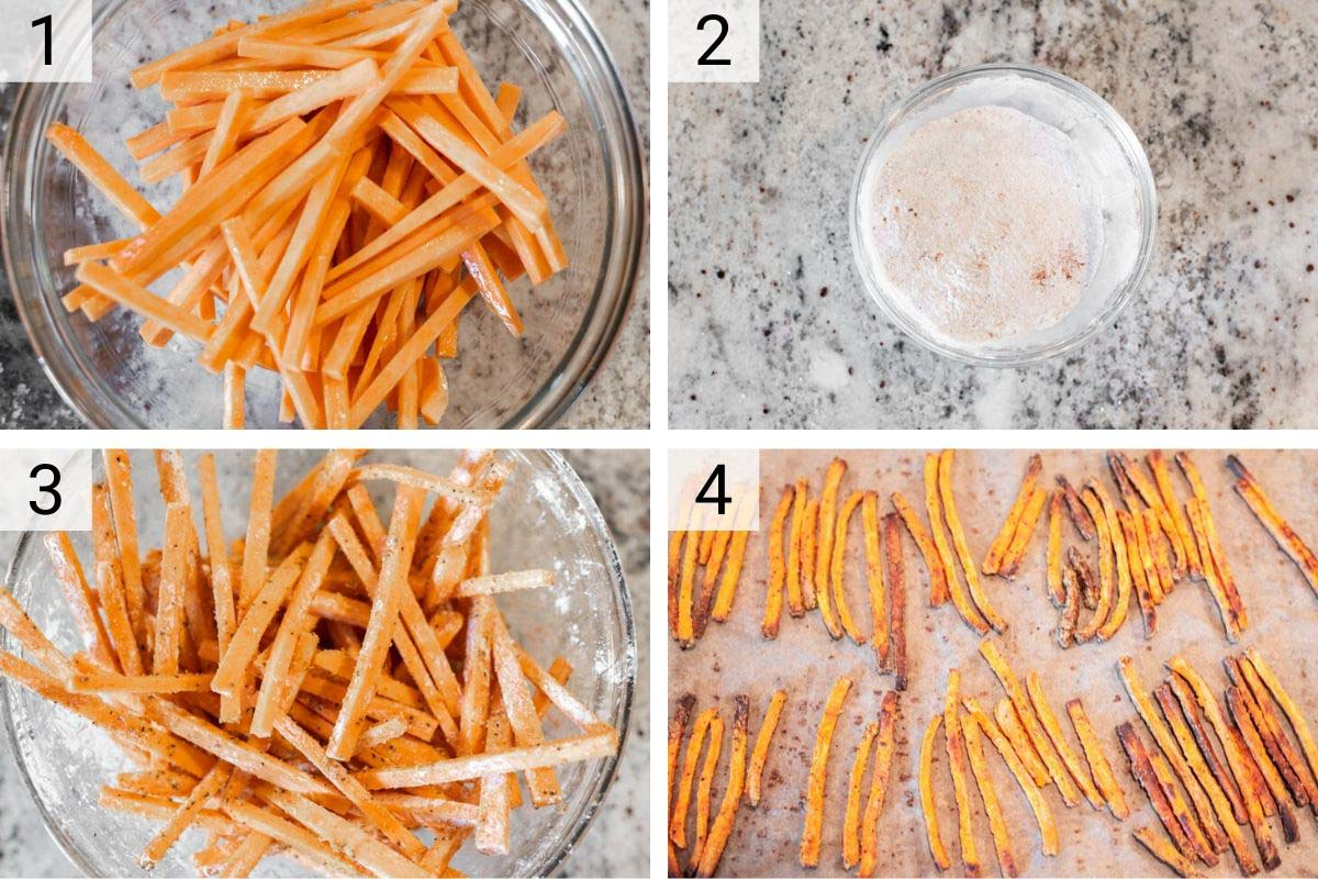 process shots of how to make sweet potato fries