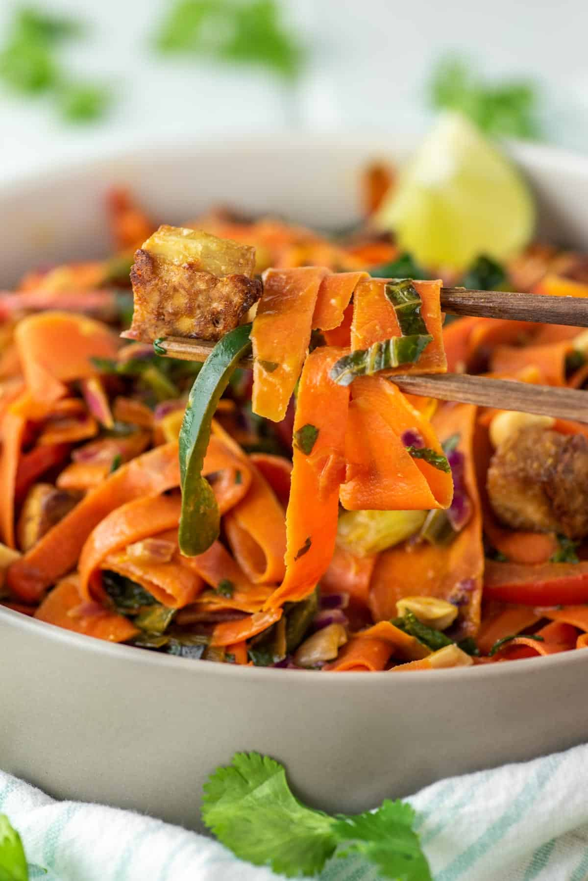 wooden chopsticks lifting out carrot noodles with tofu