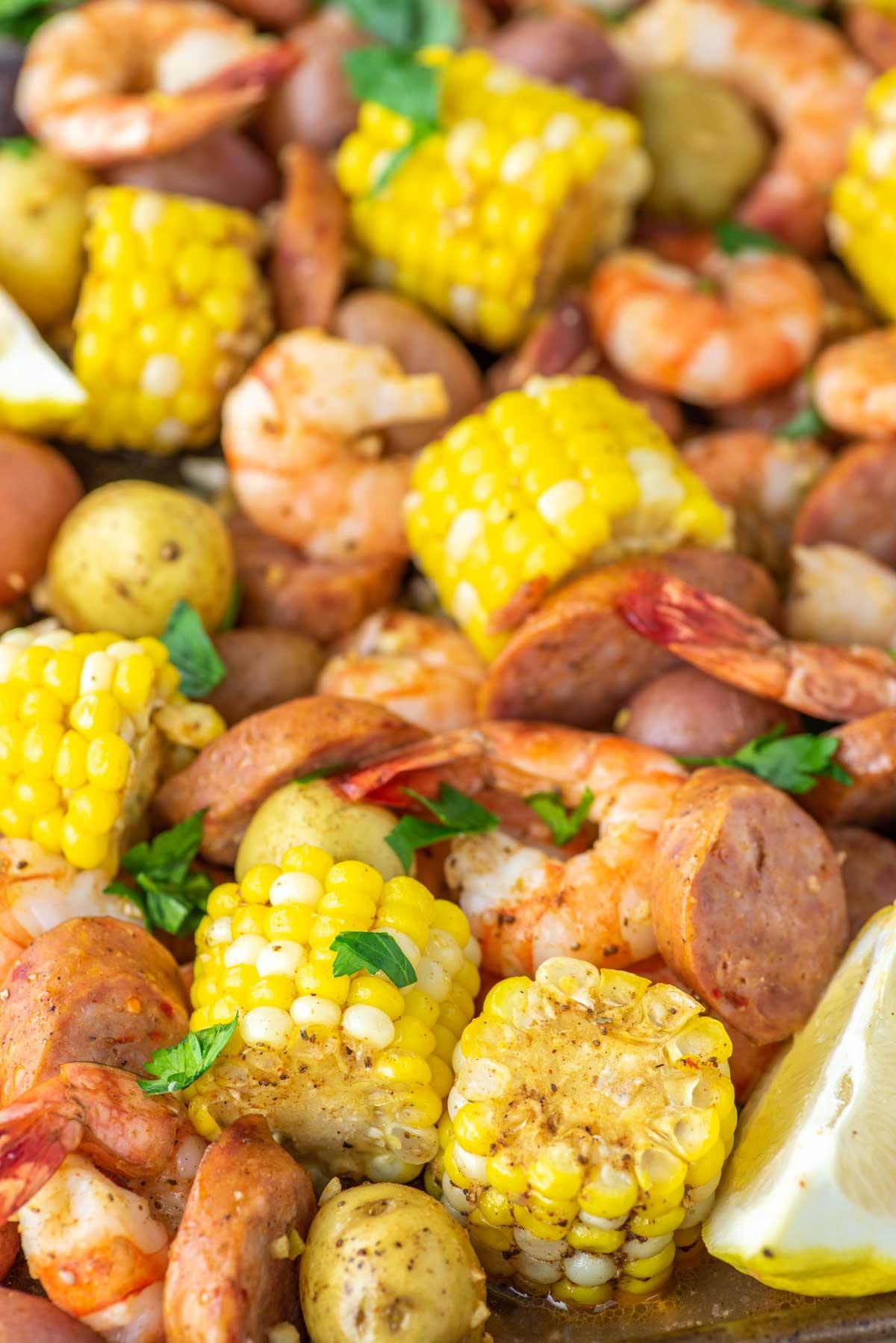 close-up of sheet pan shrimp boil