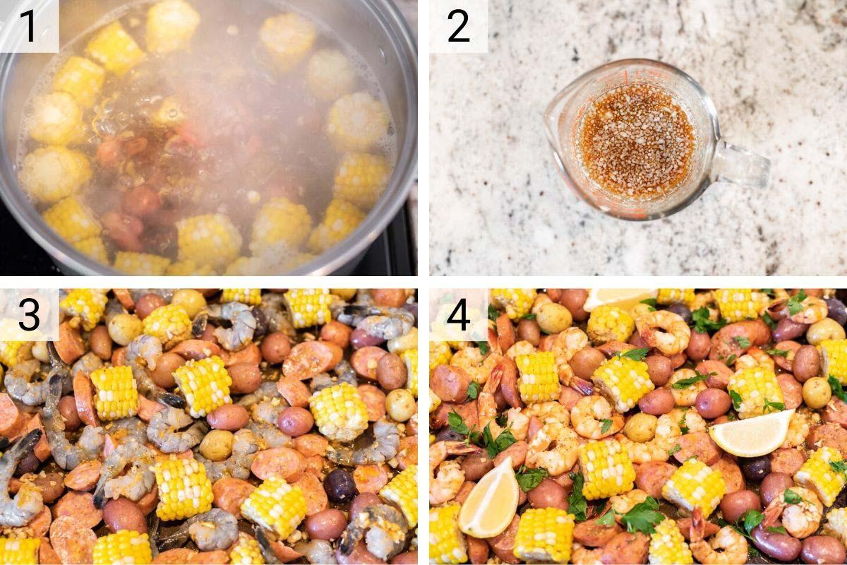 process shots of how to make sheet pan shrimp boil