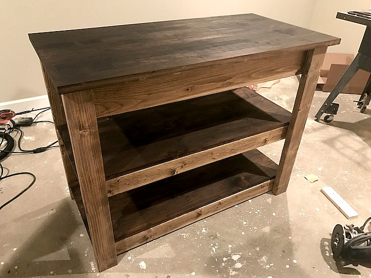 staining for kitchen island plan