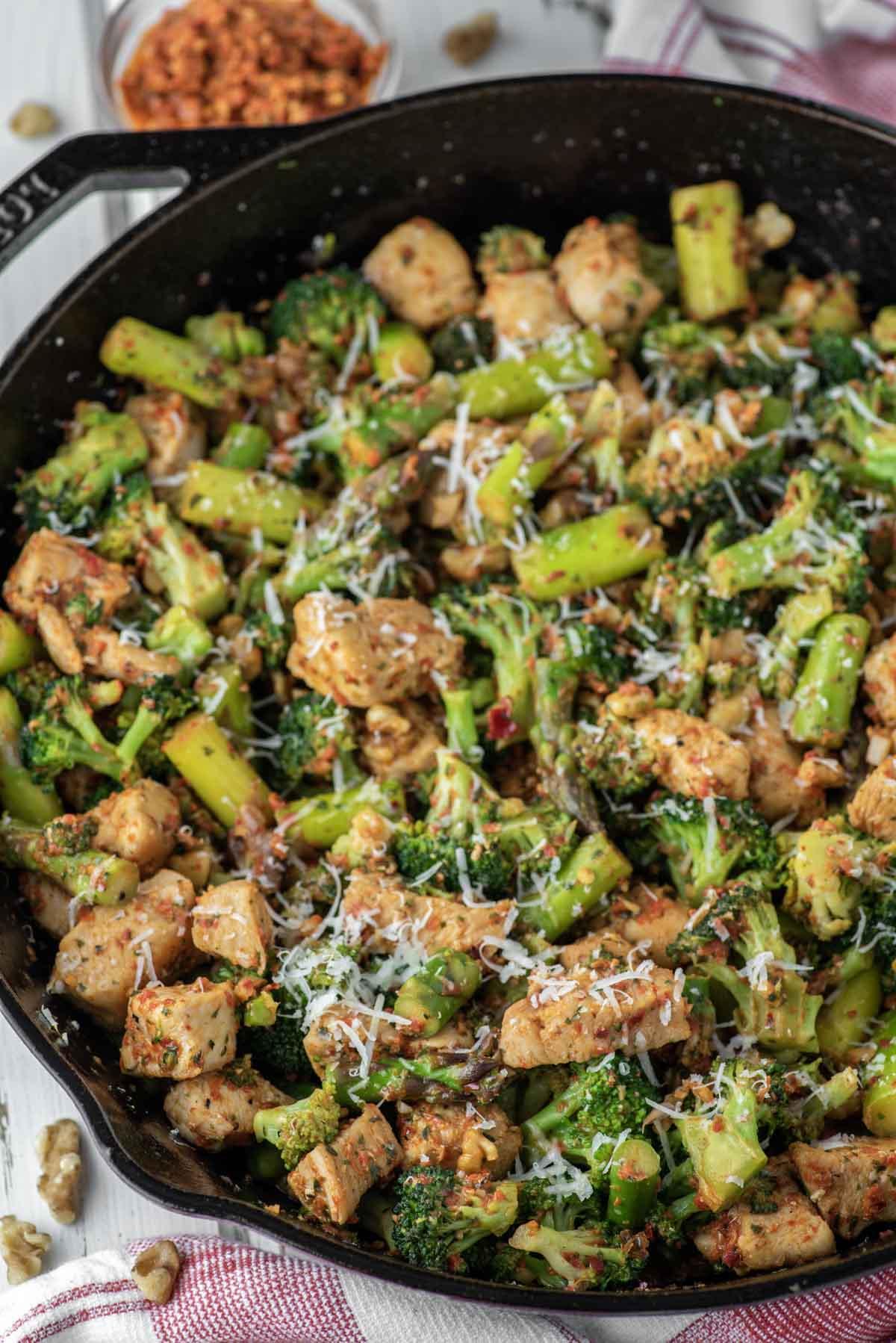 chicken and veggies in skillet