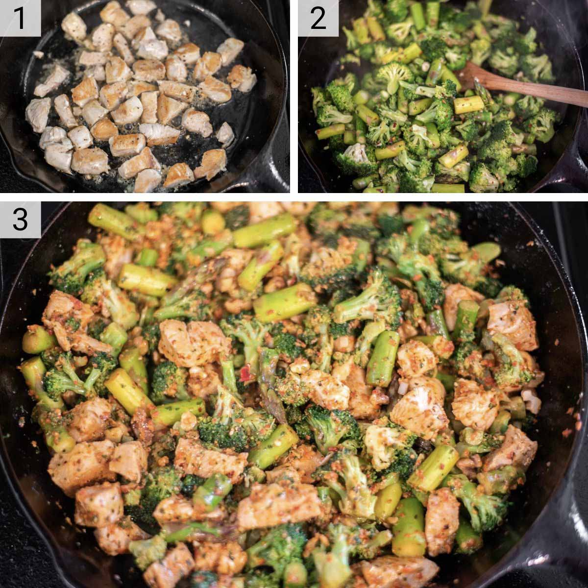 process shots of how to make roasted red pepper pesto chicken and veggies