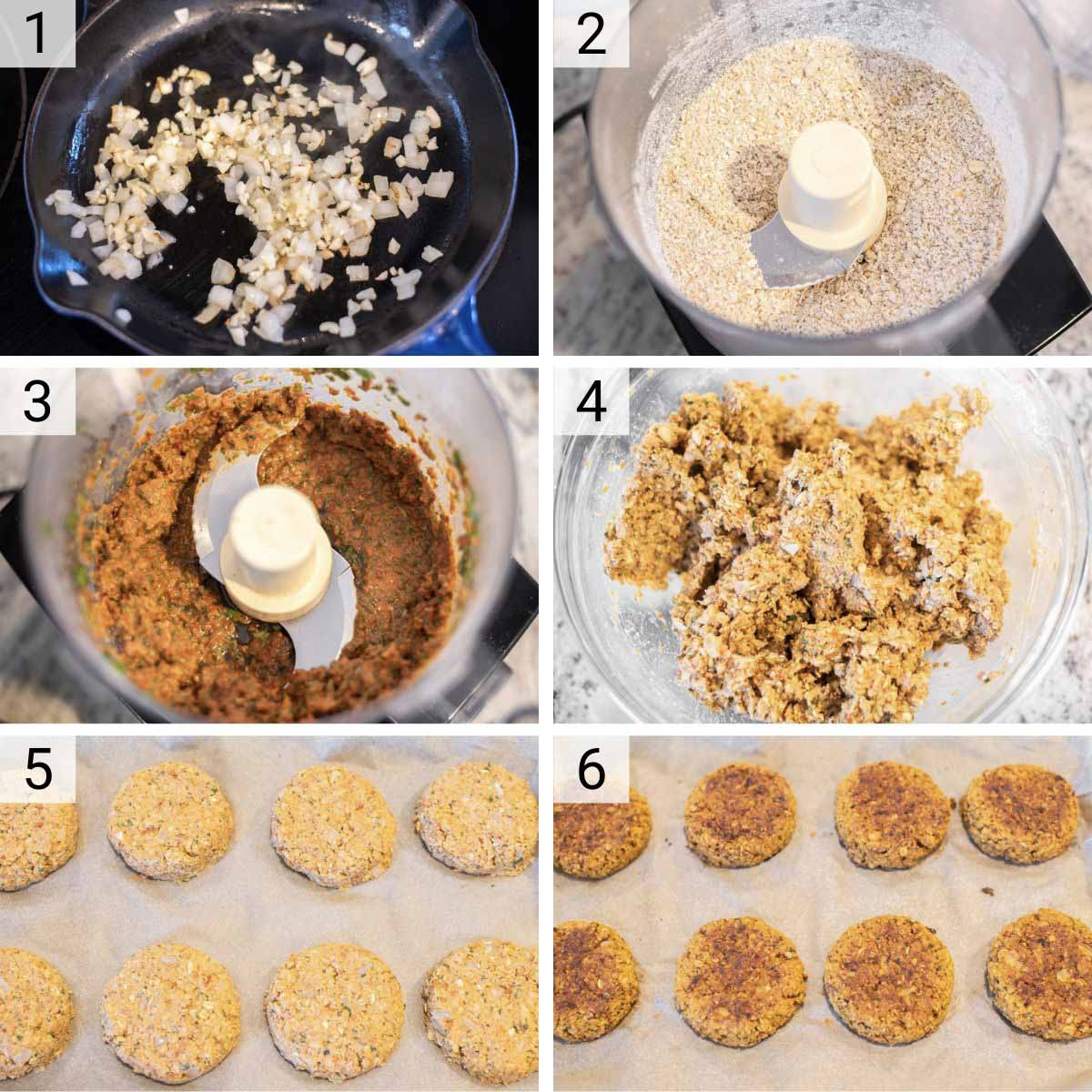 process shots of how to make chickpea veggie burgers
