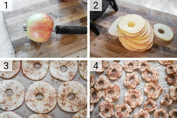 process shots of how to make apple chips