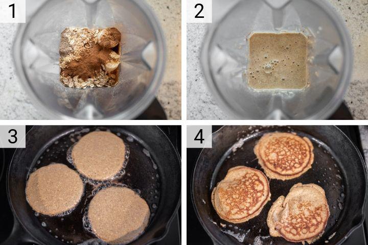 process shots of how to make banana oat pancakes