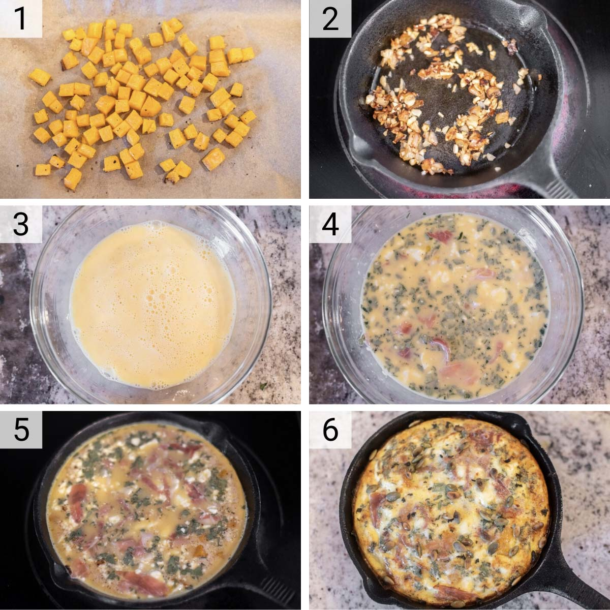 process shots of how to make a butternut squash frittata