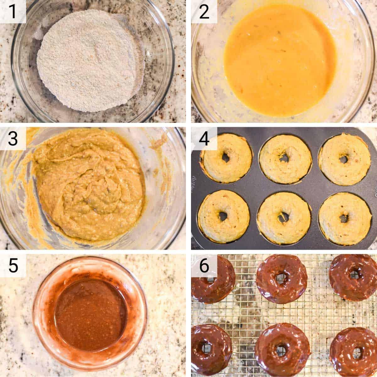 process shots of how to make pumpkin donuts