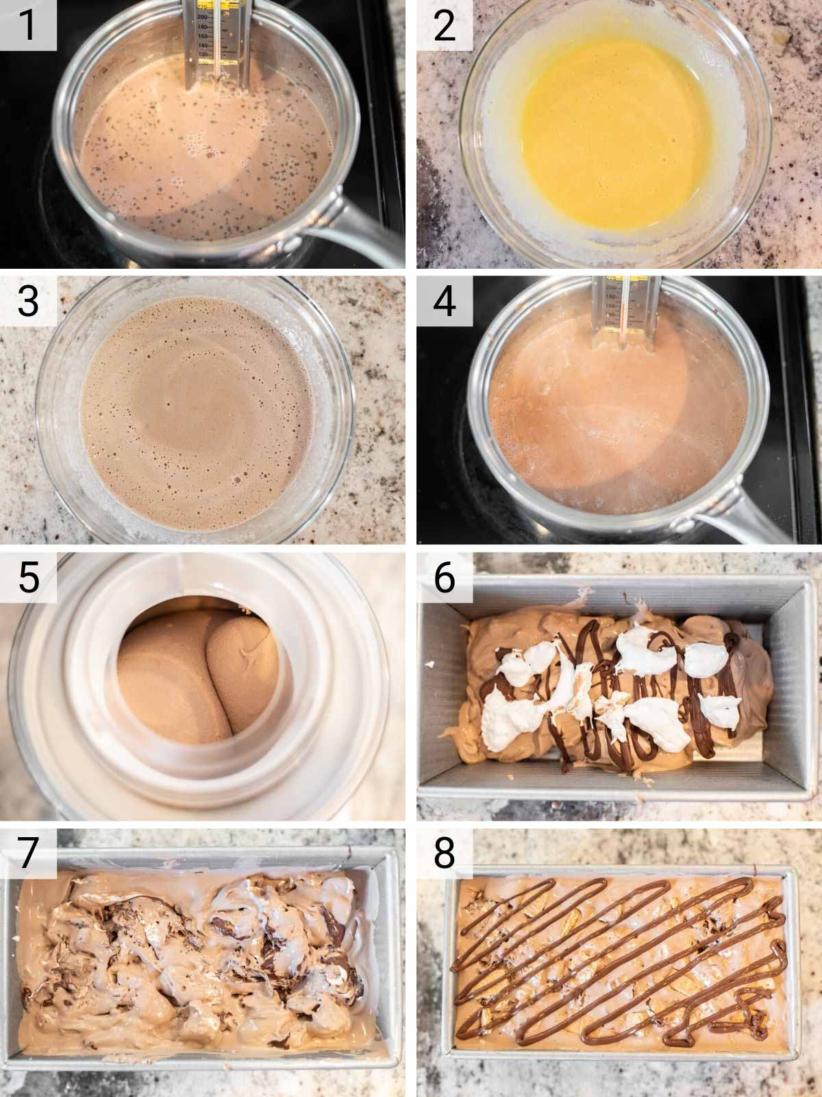 process shots of how to make s'mores ice cream