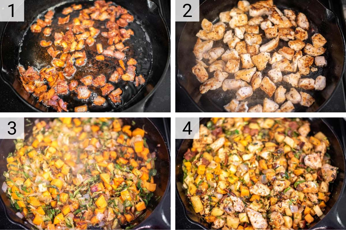 process shots of how to make sweet potato brussels sprouts hash