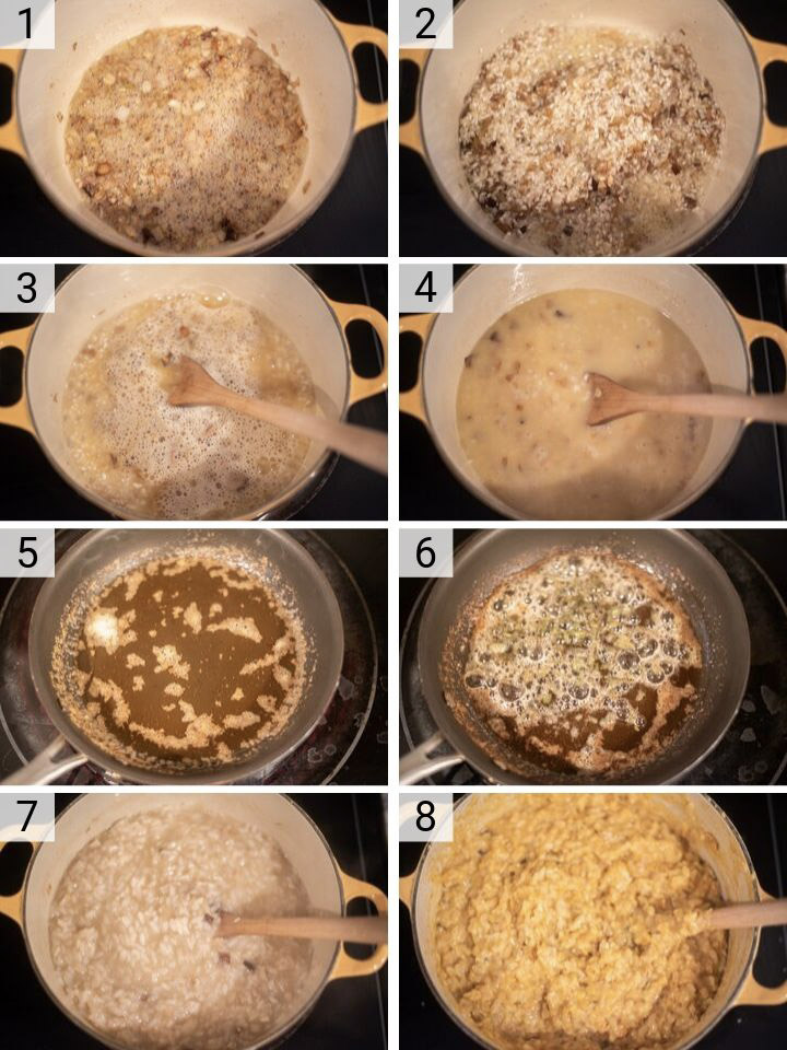 process shots of how to make sweet potato risotto