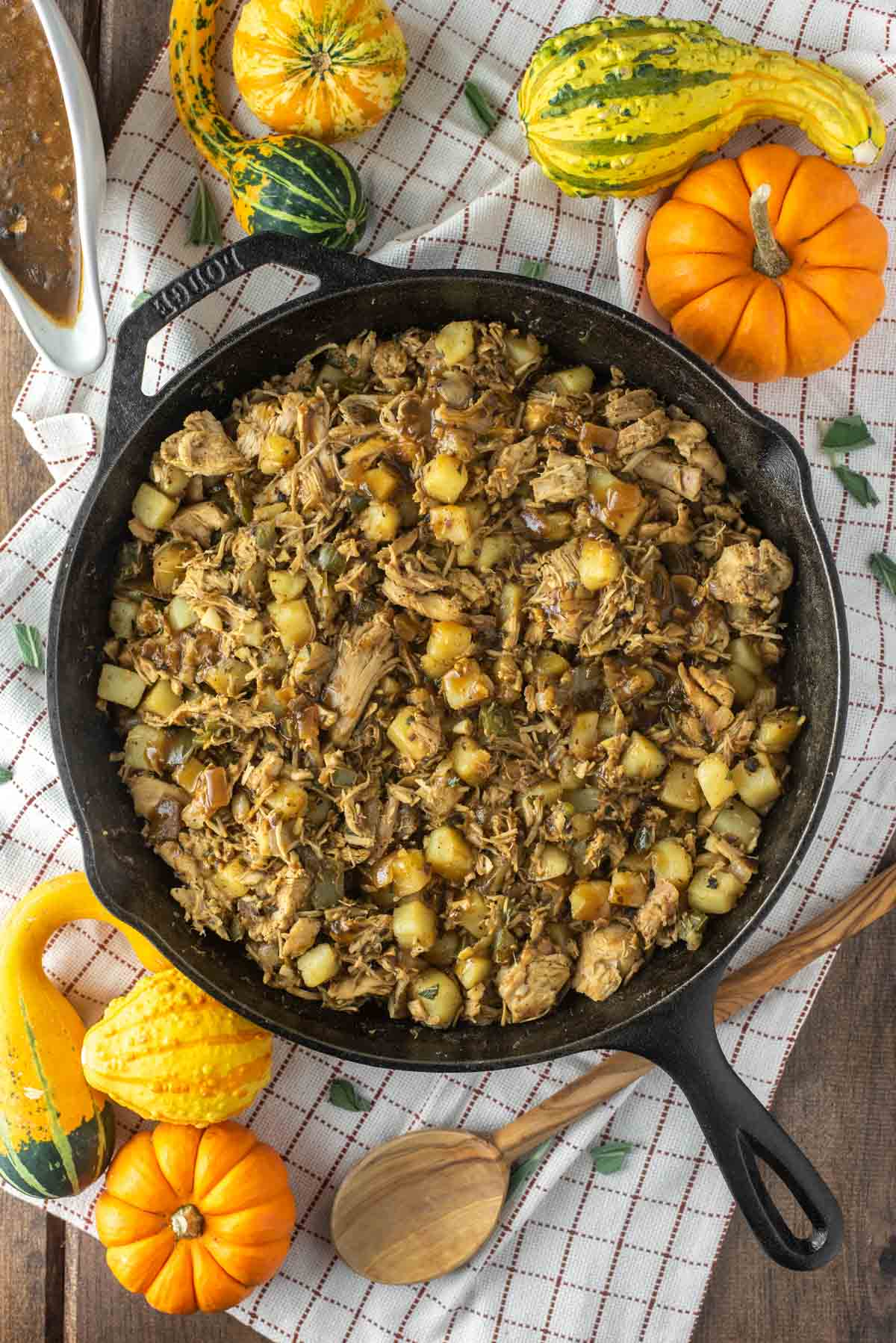 overhead shot of turkey hash in cast iron skillet