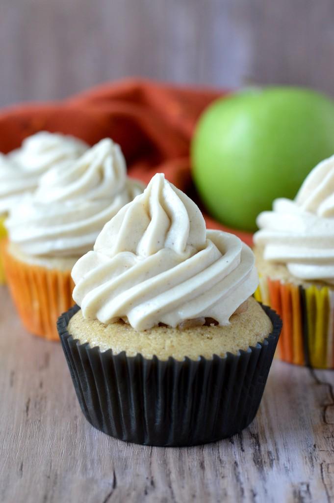 close-up of four apple pie cupcakes